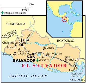 maps of el salvador. Map of El Salvador