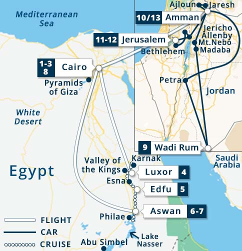 Egypt nile river cruise jordan israel tours ms semiramis best of egypt semiramis jordan israel tour map gumiabroncs Images