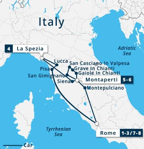 Map Of Italy Showing Tuscany.Rome Tuscany Cinque Terre Tour Rome Montepulciano Pienza