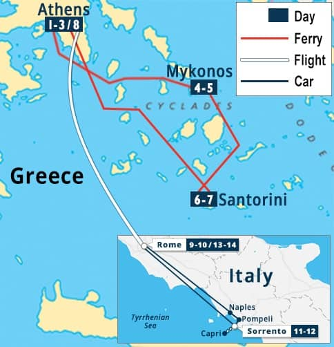 Map Of Italy And Islands.Greece Athens Greek Islands And Italy Rome Sorrento Escape