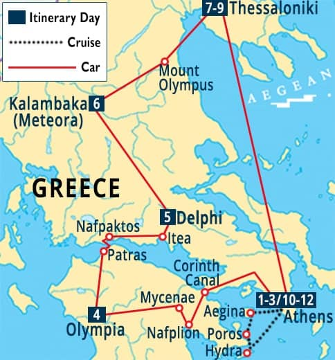 Poros Greece Map.Grand Tour Of Greece Athens Thessaloniki Vacation Packages