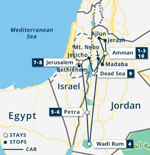 Explore Jordan Nts Jerusalem Tour Petra Amman Wadi Rum - Map of egypt jordan and israel